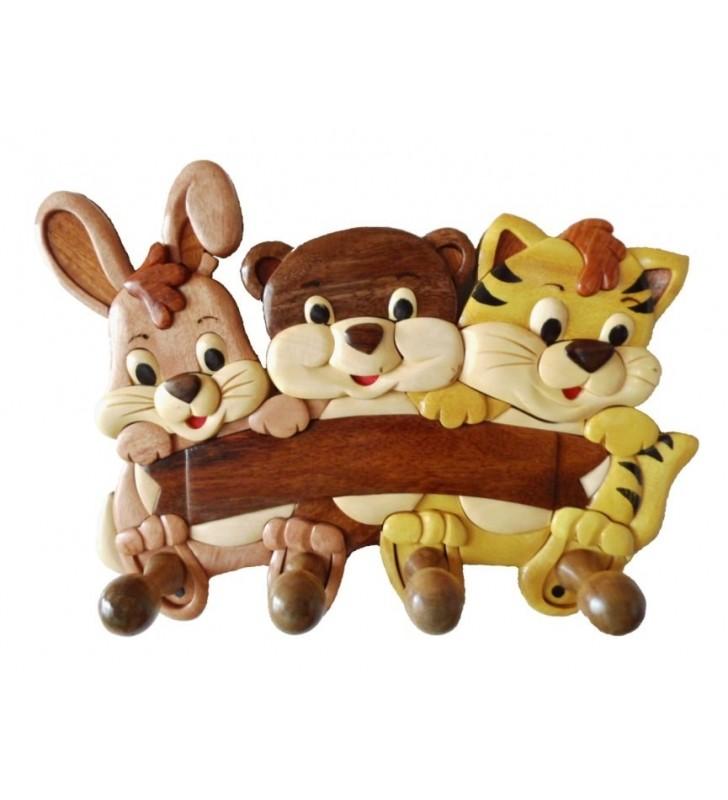Porte-manteau en bois, Lapinou, Minou et Tigrou