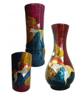 Vases en bois laqué, décor asiatique, motif poisson
