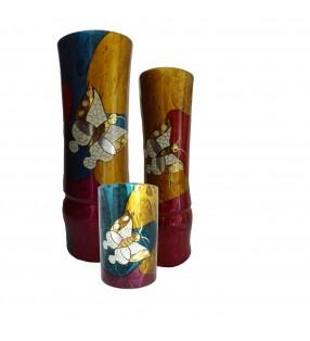 Vases en bois laqué, décor asiatique, motif papillon