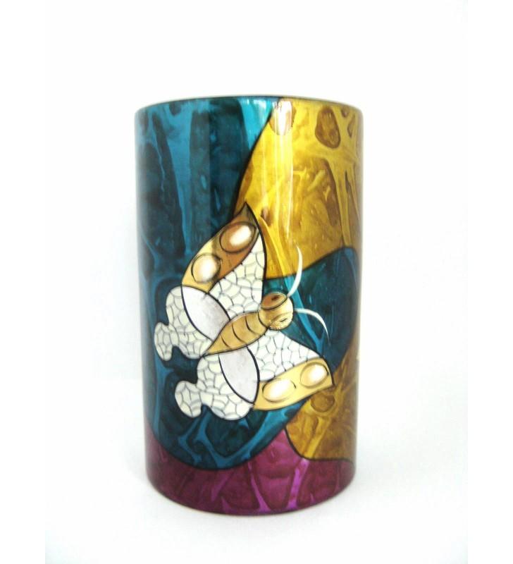 Vase droit en bois laqué, décor asiatique, motif papillon