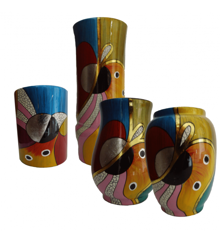 Vases en bois laqué, décor asiatique, motif abstrait