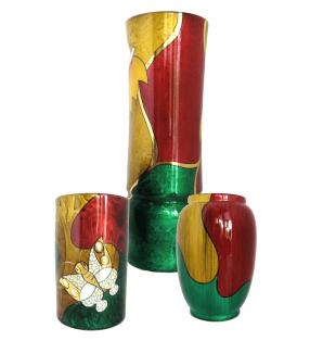 Vases en bois laqué, décor asiatique, multicolores