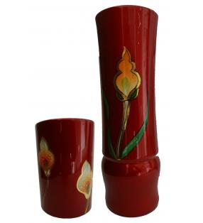 Vases en bois laqué, décor asiatique, fleur d'arum