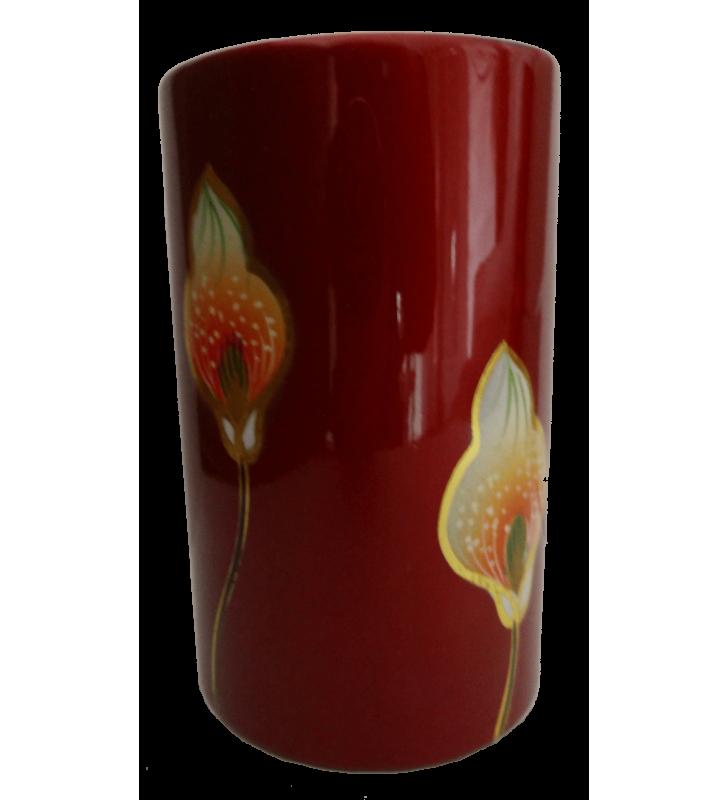 Vase droit en bois laqué, décor asiatique, fleur d'arum