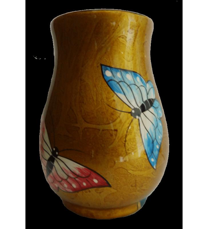 Vase boule en bois laqué, papillons rose et bleu
