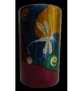 Vase en bois laqué, décor asiatique, libellule