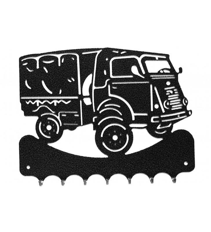 Accroche-clés, décor en métal, Camion Renault 2087 Goélette