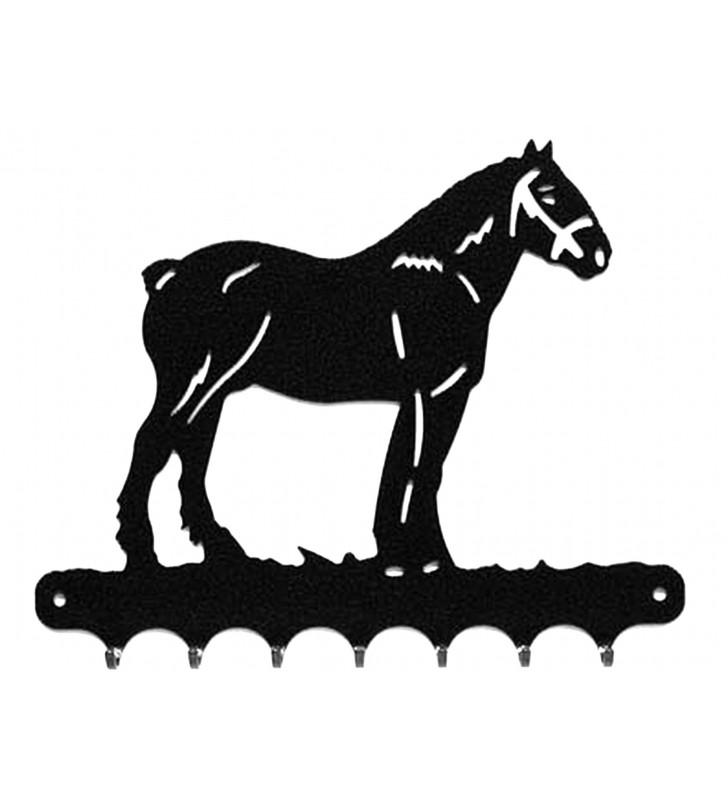 Accroche-clés, décor en métal, Cheval de trait