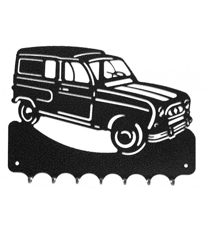 Accroche-clés, décor en métal, Renault 4 L Fourgonnette