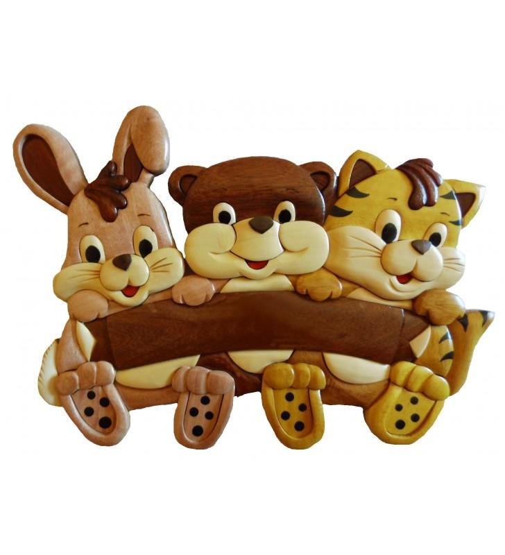 Plaque de porte pr nom en bois pour chambre enfant mod le lapin ours et chat - Plaque de porte prenom ...