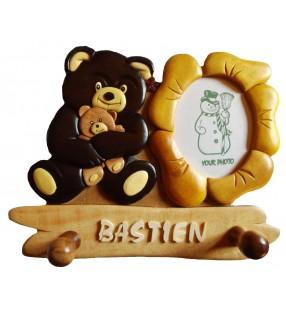 Porte-manteau enfant avec cadre photo et prénom en bois, Ours noir