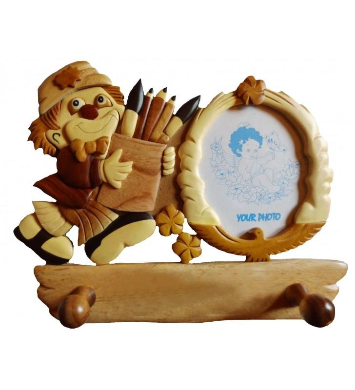 Porte-manteau enfant avec cadre photo en bois, Clown