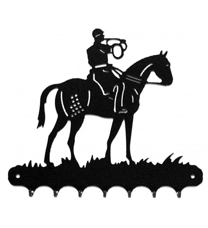 Accroche-clés, décor en métal, Cavalier Chasse à courre
