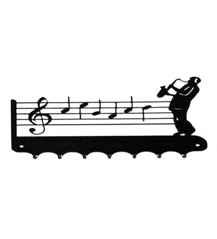 Accroche-clés, décor en métal, Saxophoniste
