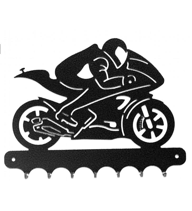 Accroche-clés, décor en métal, moto de course Yamaha