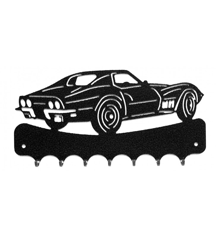 Accroche-clés mural, décor en métal, Corvette