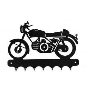 Accroche-clés, décor en métal, moto Guzzi