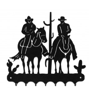 Accroche-clés, décor en métal, Western