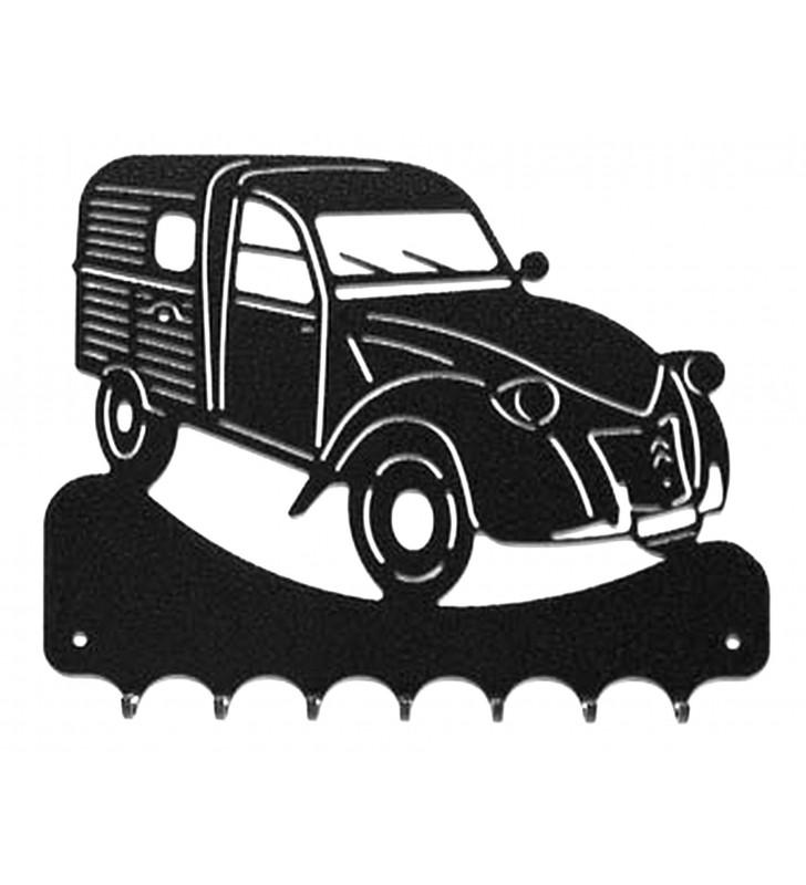Accroche-clés, décor en métal, 2 CV camionnette