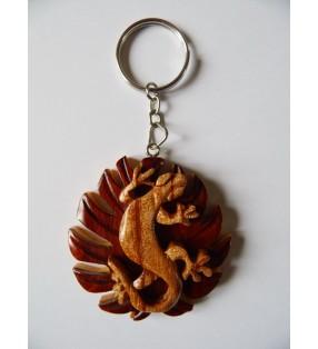 Porte-clés original en bois, décor Gecko sur feuille