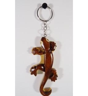 Porte-clés original en bois, décor Gecko