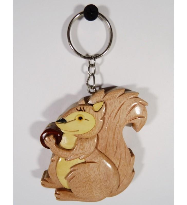 Porte-clés fantaisie en bois, décor Écureuil