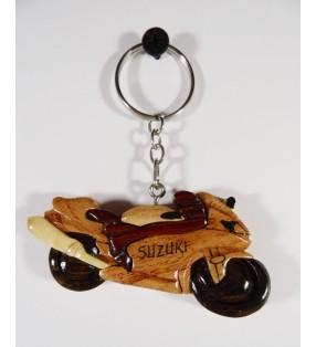 Porte-clés en bois décoratif, Moto Suzuki