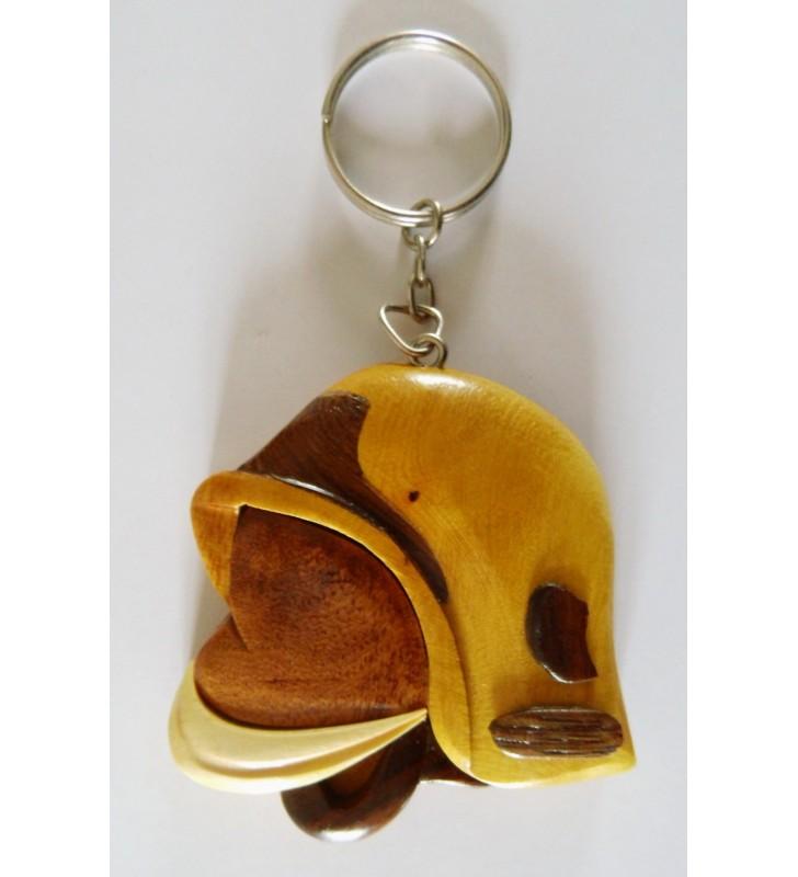 Porte-clés en bois décoratif, Casque de pompier F1