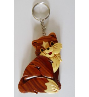 Porte-clés en bois décoratif, Chat