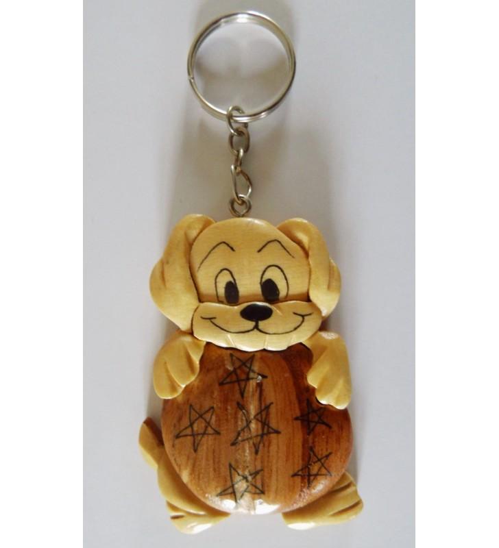 Porte-clés en bois décoratif, Chien Dalmatien