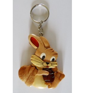 Porte-clés en bois décoratif, Lapin