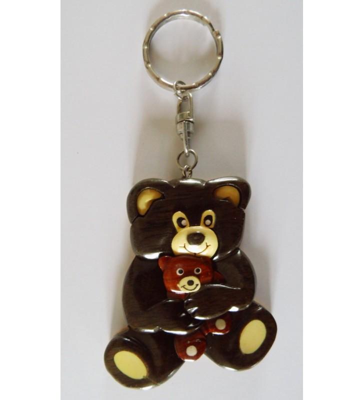 Porte-clés en bois décoratif, Ours