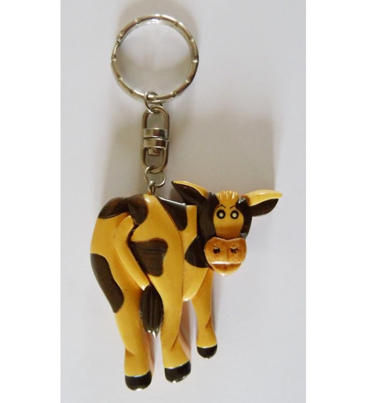 Porte-clés en bois décoratif, Vache