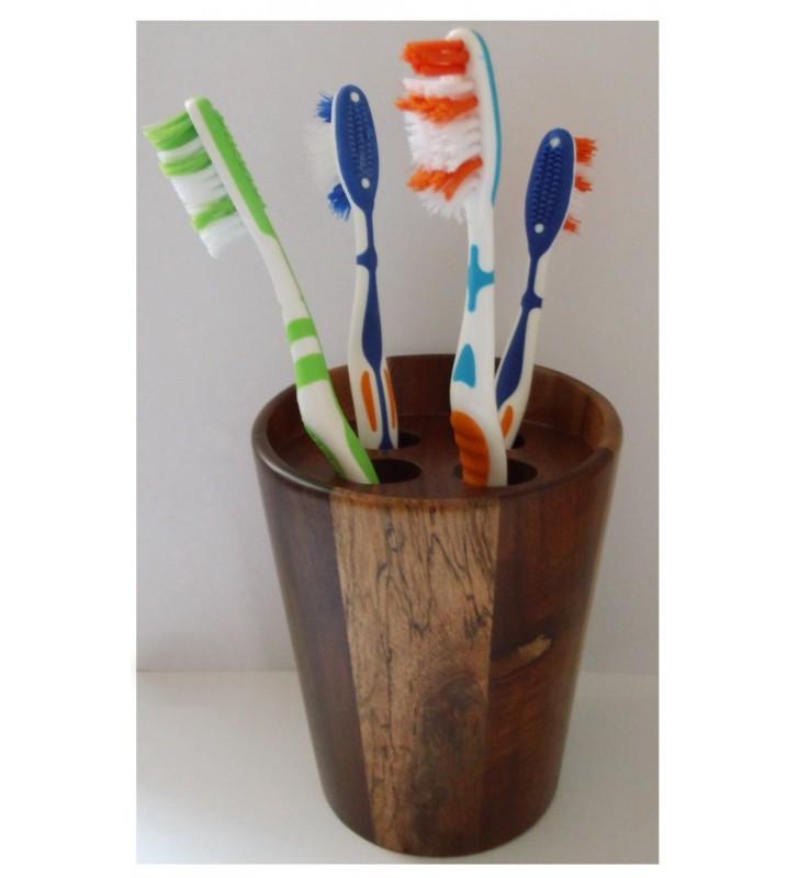 Gobelet porte-brosses à dents en acacia pour déco tendance
