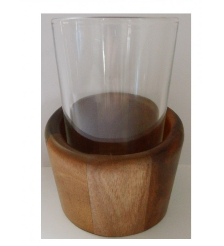 Porte-gobelet en verre et acacia pour déco tendance