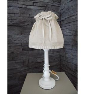 Lampe de chevet à poser en bois blanchi et abat-jour en lin pour déco tendance