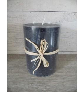 Bougie cylindrique noire, aspect rustique pour déco tendance