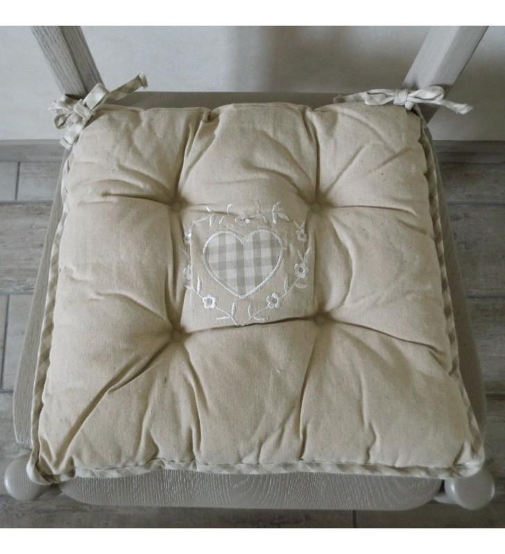 Galette de chaise réversible en lin beige 40 cm pour déco tendance