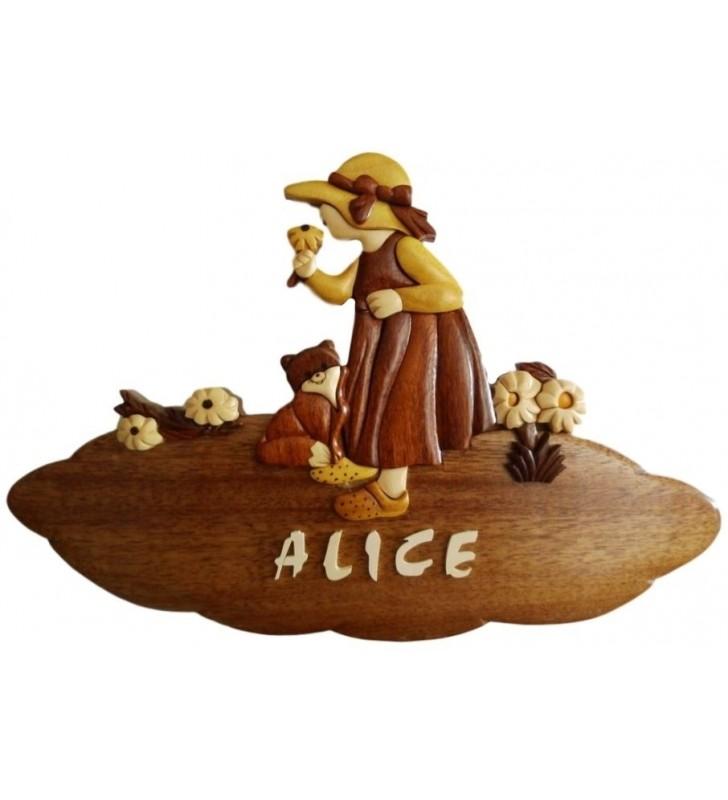 Plaque de porte pr nom en bois pour chambre d 39 enfant fillette et son chat - Plaque de porte prenom ...