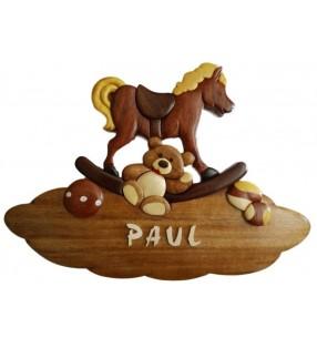 Plaque de porte prénom en bois, Les jouets d'antan