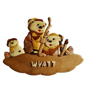 Plaque de porte prénom en bois, Oursons skieurs