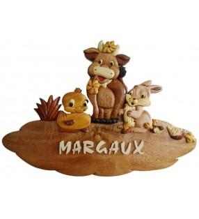 Plaque de porte prénom en bois, Animaux de la ferme