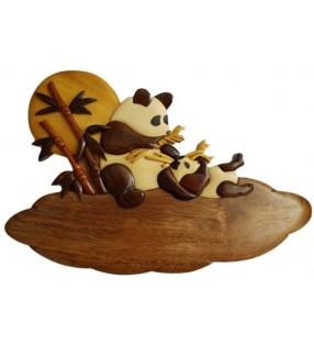 Plaque de porte prénom en bois, Pandas
