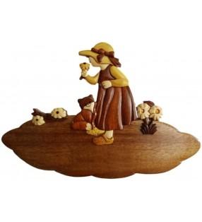 Plaque de porte prénom en bois, Fillette et son chat