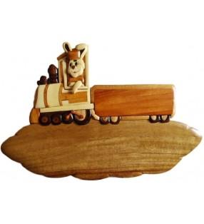 Plaque de porte prénom en bois, Lapin conducteur de train