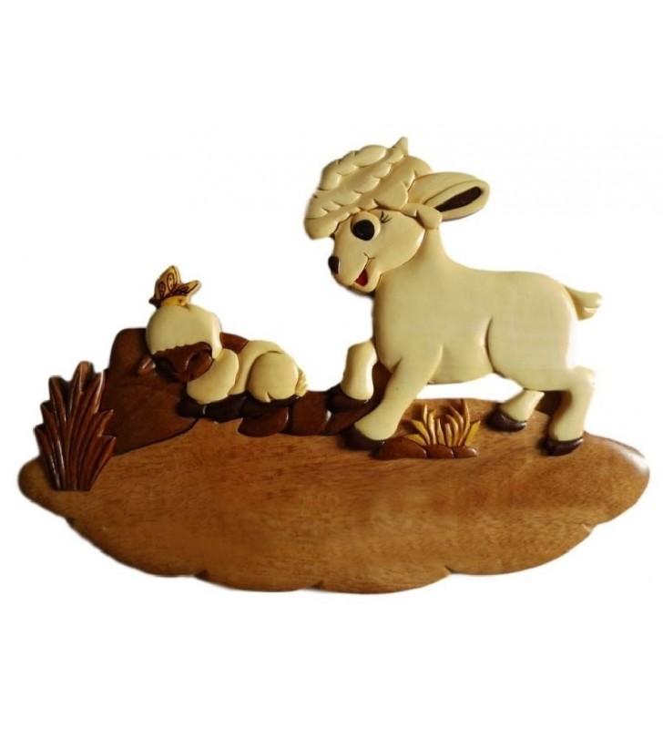 Plaque de porte prénom en bois, Mouton et son agneau