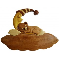 Plaque de porte prénom en bois, Ourson dormeur