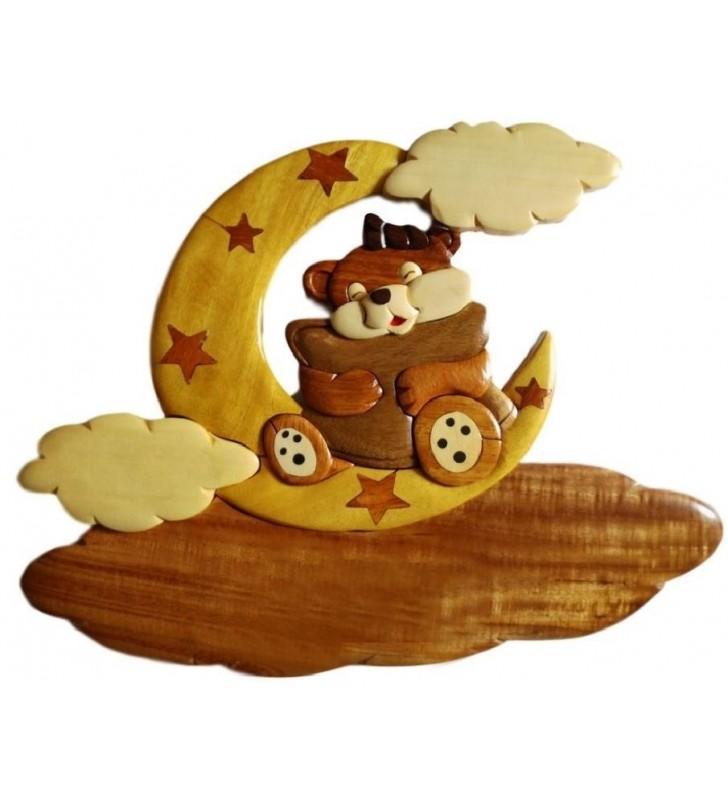 Plaque de porte prénom en bois, Oursonne câline