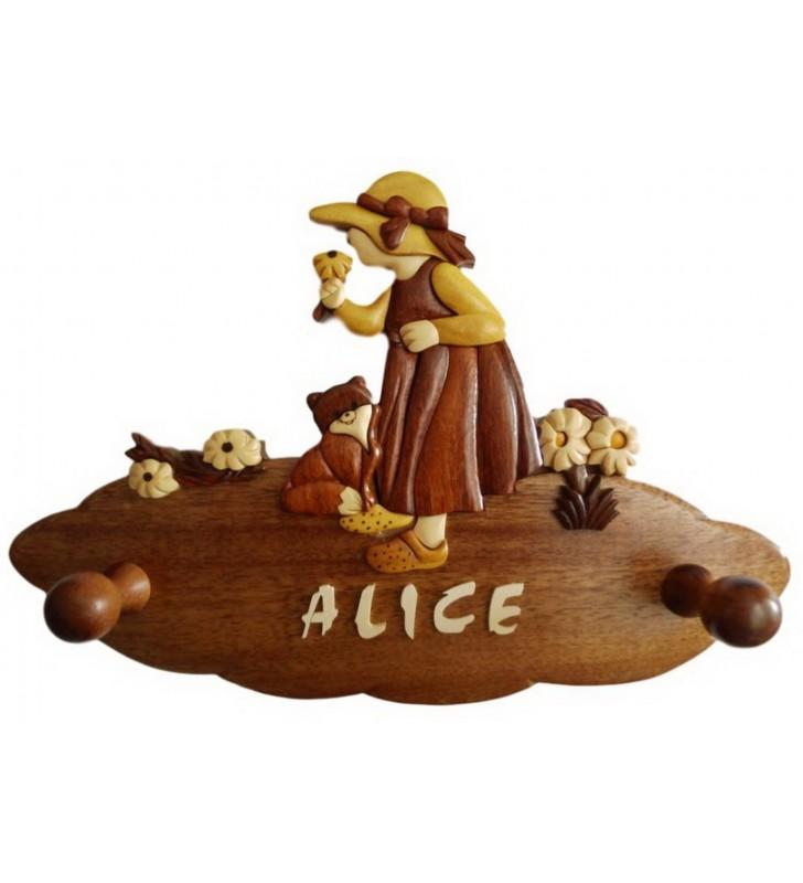 Porte-manteau enfant en bois personnalisable, Fillette et son chat