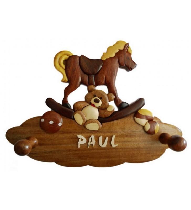 Porte-manteau enfant en bois personnalisé, Les jouets d'antan